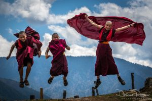 Leaping Monks in Bhutan